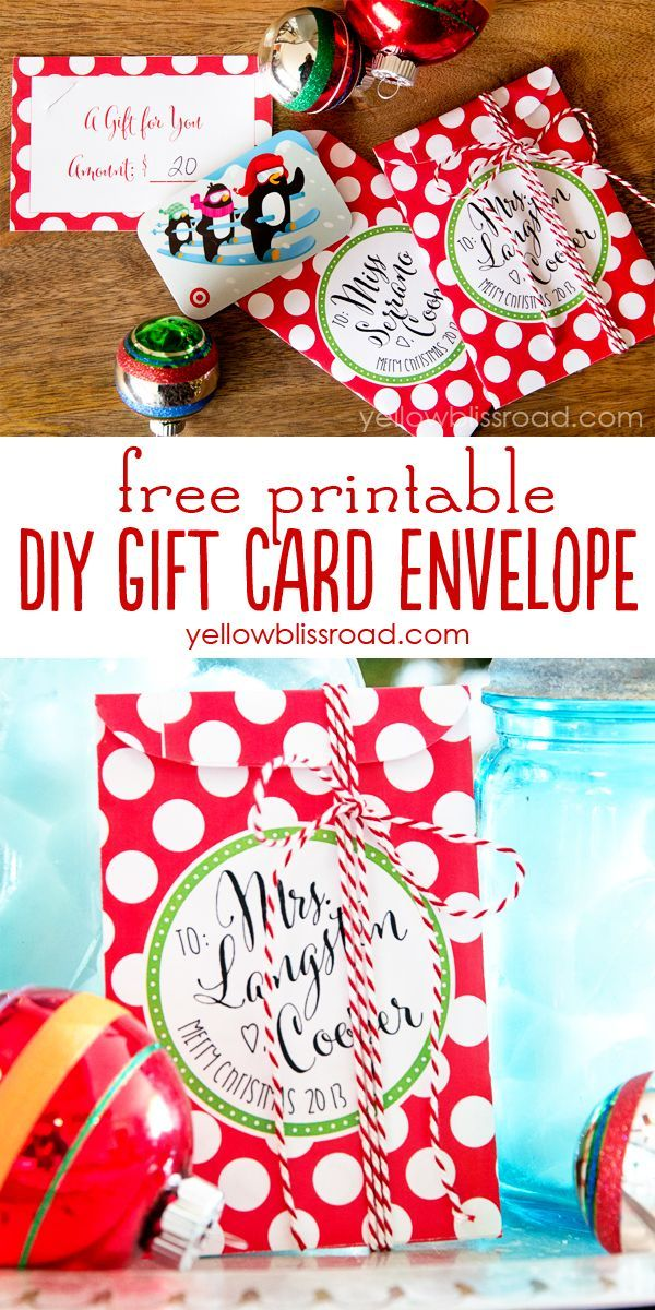Free Printable Gift Card Envelopes. What a clever idea to give gift cards this Christmas!