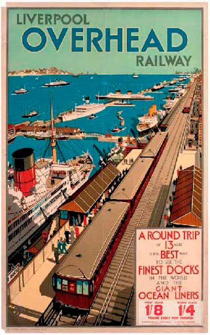 Liverpool overhead railway. Vintage poster.