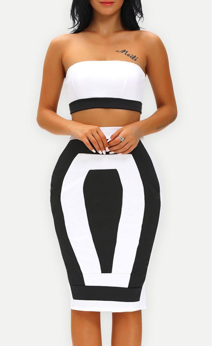 Bandeau Color-block Two Pieces Skirt Set