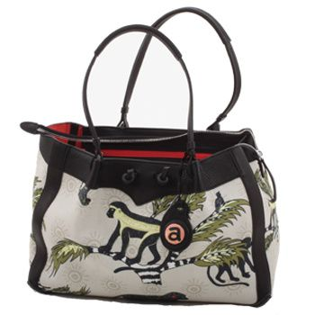 Ardmore Ceramics Fabric and Leather Handbags: Monkey Palm Desert