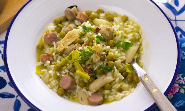 6ª feira: risotto de espargos com salsichas