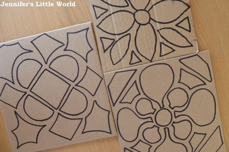 For Blossoms: offer shapes, which they can trace around/glue down to make their own patterns; then place glue on shape and sprinkle colored salt or glitter on top.