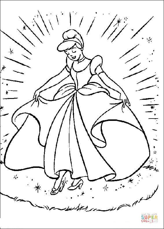 Cinderella With Her Gown Super Coloring Princess Coloring Pages Cinderella Coloring Pages Cartoon Coloring Pages