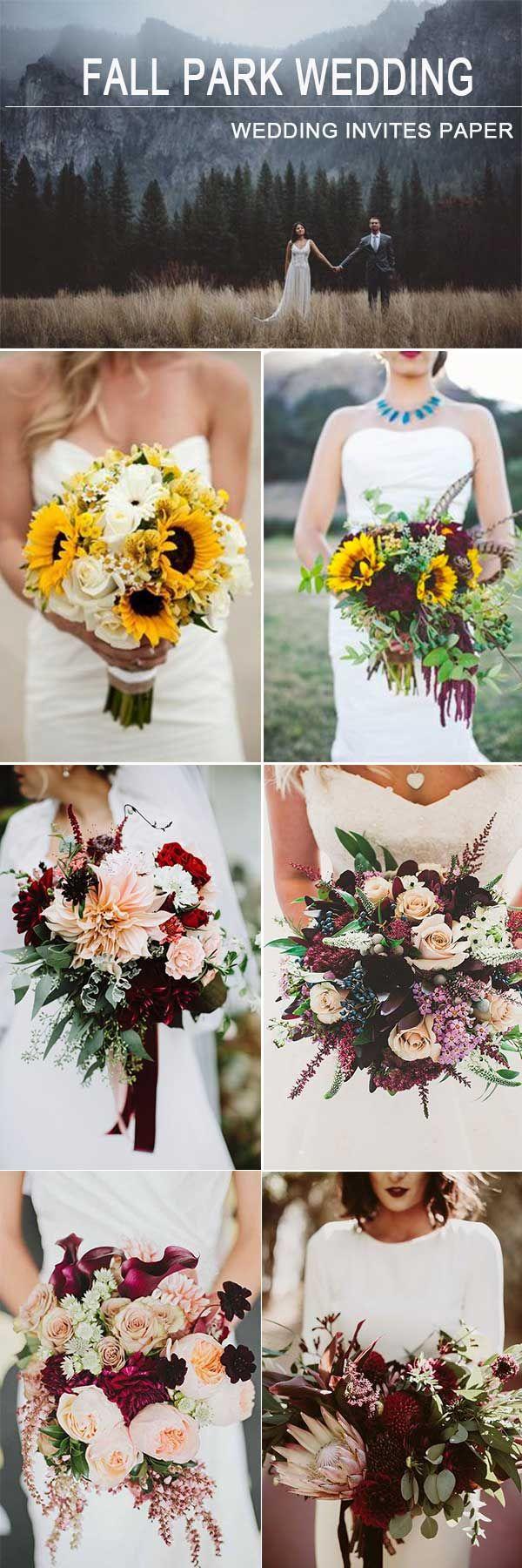 UNDER 2000$ WEDDING: OUTDOOR PARK FALL WEDDING IN 2018 - Wedding Invites Paper burgundy wedding bouquet/ outdoor wedding/ sunflower wedding bouquet/ dusty pink wedding bouquet
