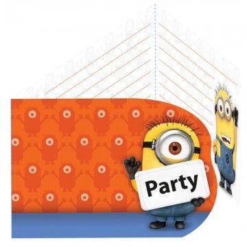 Minions invitationer med konvolut