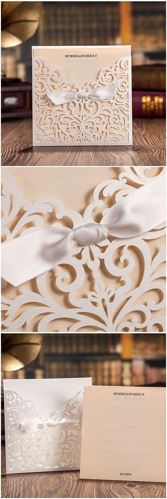 Pearl White Elegant Laser Cut Pocket Wedding Invitations