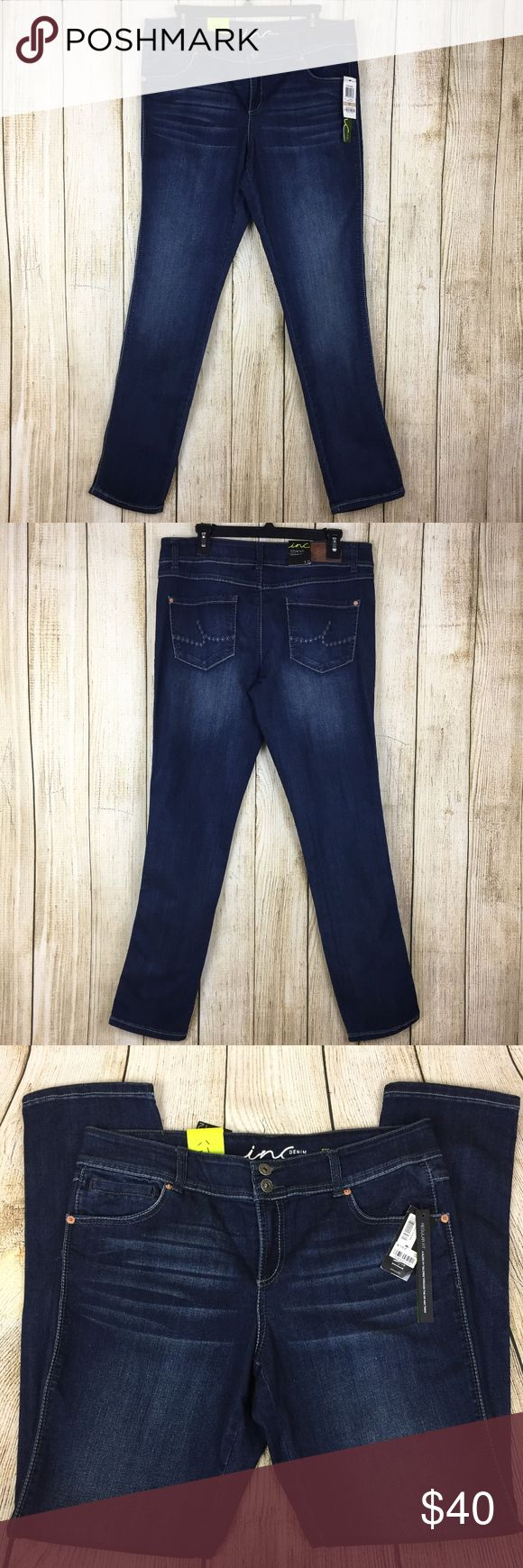 """NEW INC Dark Wash Straight Leg Relaxed Fit Jeans NEW INC Denim Jeans Size 12 Straight Leg Regular Fit Dark Wash NWT Reg $69.50  Style: Straight Leg Regular Fit Brand: INC International Concepts Size: 12 Material: 52% Cotton 22% Polyester 22% Rayon 1% Spandex Color: Dark Wash Measurements (laying flat):        Waist 17.5""""      Hip 19""""      Rise 10""""      Inseam 32""""      Leg Opening 6.5"""" Condition: New with Tags  Ships in 24 hours!!!  24 INC International Concepts Jeans Straight Leg"""