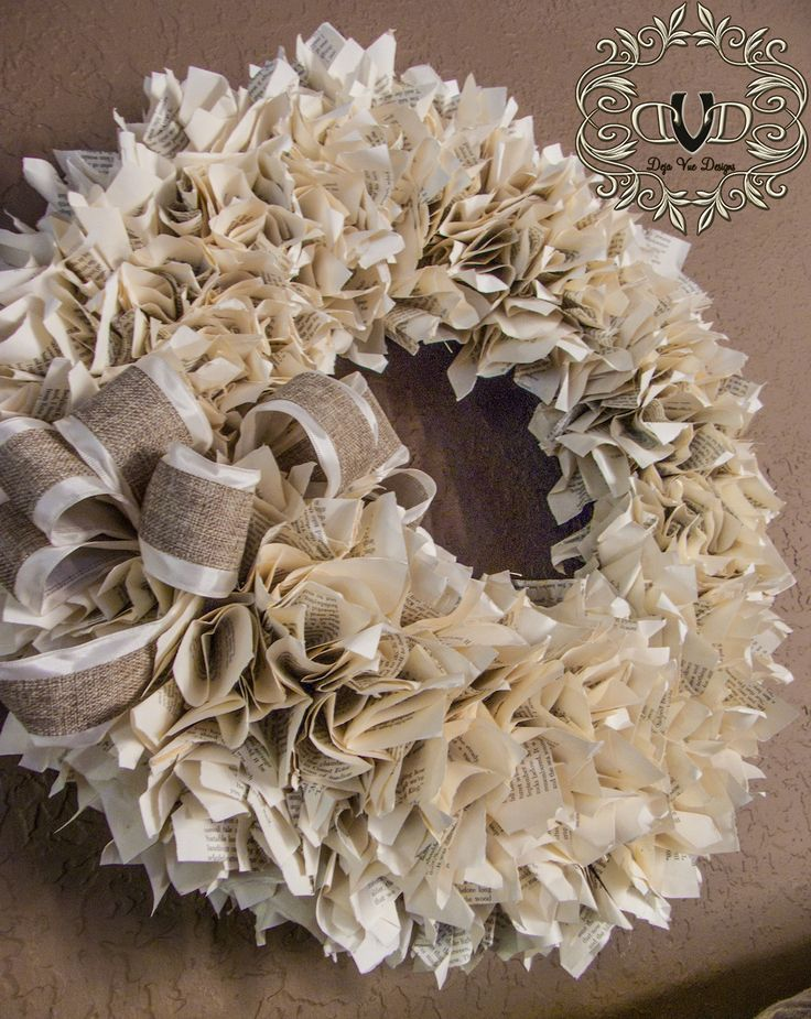 DIY:  Book Page Wreath - made from an old book, a wreath form, a bow & lots of glue :)
