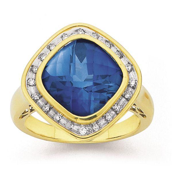 9ct Gold Created Sapphire & Diamond Large Cushion Cut Ring
