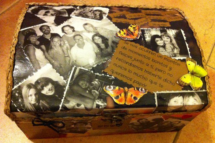Regalo especial para el día del padre. Caja decorada con fotografías.