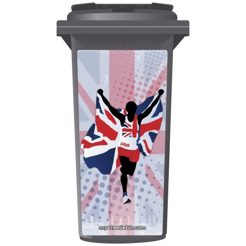 Union Jack Great Britain Runner Wheelie Bin Sticker Panel