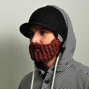 Čierna čiapka s odopínateľnou hnedou bradou Beardo Original