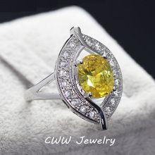 Senhoras de alta Qualidade Da Festa de Noivado Jóias de Luxo Big Oval Citrino Amarelo  l Anéis Com Pedras de Zircônia Configuração(China (Mainland))