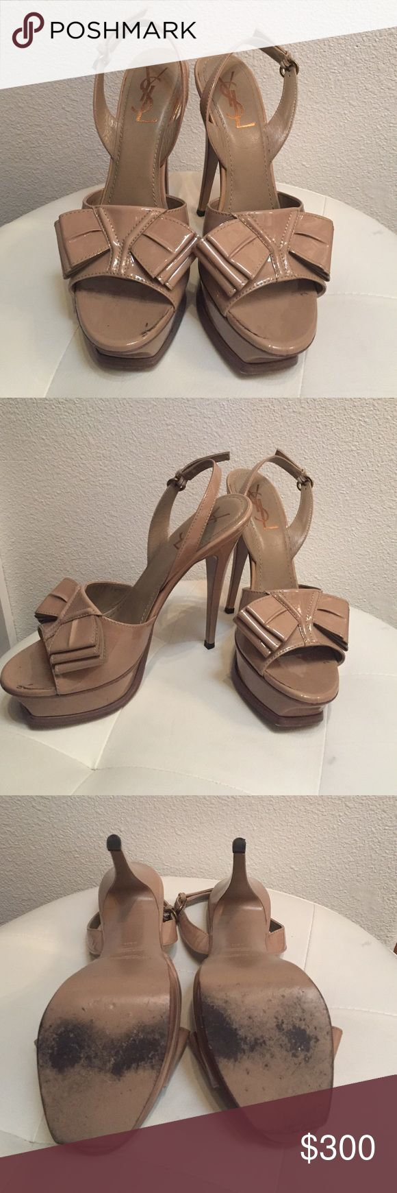 Nude Saint Laurent heels As seen on Kylie Jenner. Gently used, Saint Laurent bow heels. Size 38.5. Comes with Yves Saint Laurent bag Yves Saint Laurent Shoes