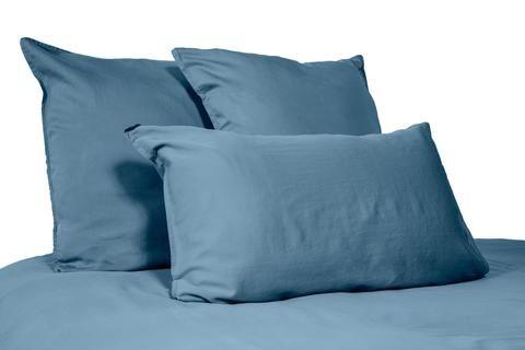 Harmony - Drap plat en lin lavé Viti - bleu Petrole - 240 ou 270x310 cm - Home Beddings and Curtains