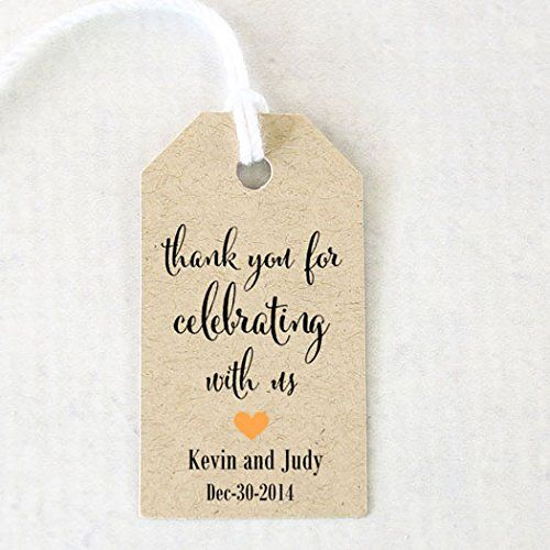 Thank You For Celebrating With Us, Wedding Favor Tag, Personalized, Custom - 25 Tags (CAN)