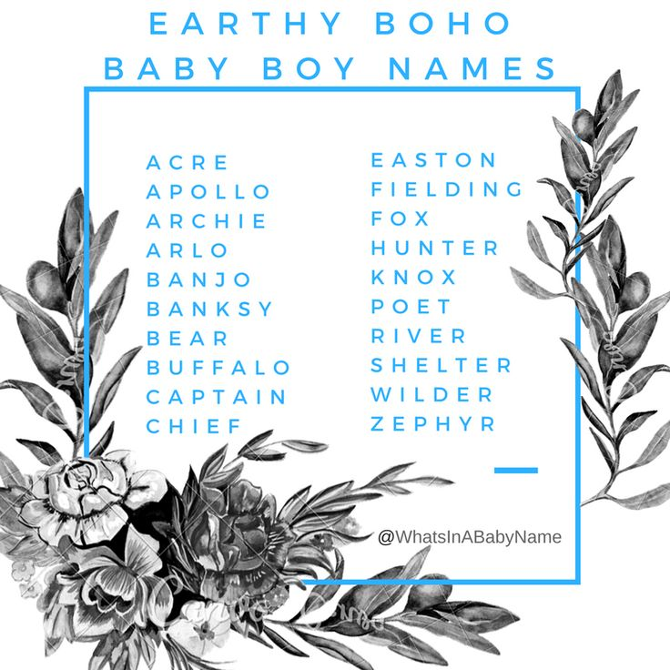 Earthy Boho Baby Boy Names || Do you suggestions? Comment below! || For more, follow me on instagram: @WhatsInABabyName || #EarthyNames #BohoNames #BabyNames #BestBabyNames #WhatsInAName #Bohemian #BohoBaby #WhatsInABabyName