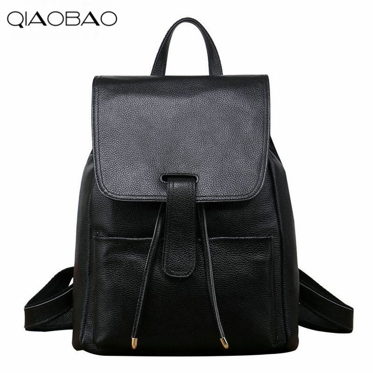 (49.88$)  Watch more here - http://aiwn0.worlditems.win/all/product.php?id=32789861756 - QIAOBAO First Layer Leather Shoulder Bag Female Leather bag Simple European And American Fashion College Trend Backpack