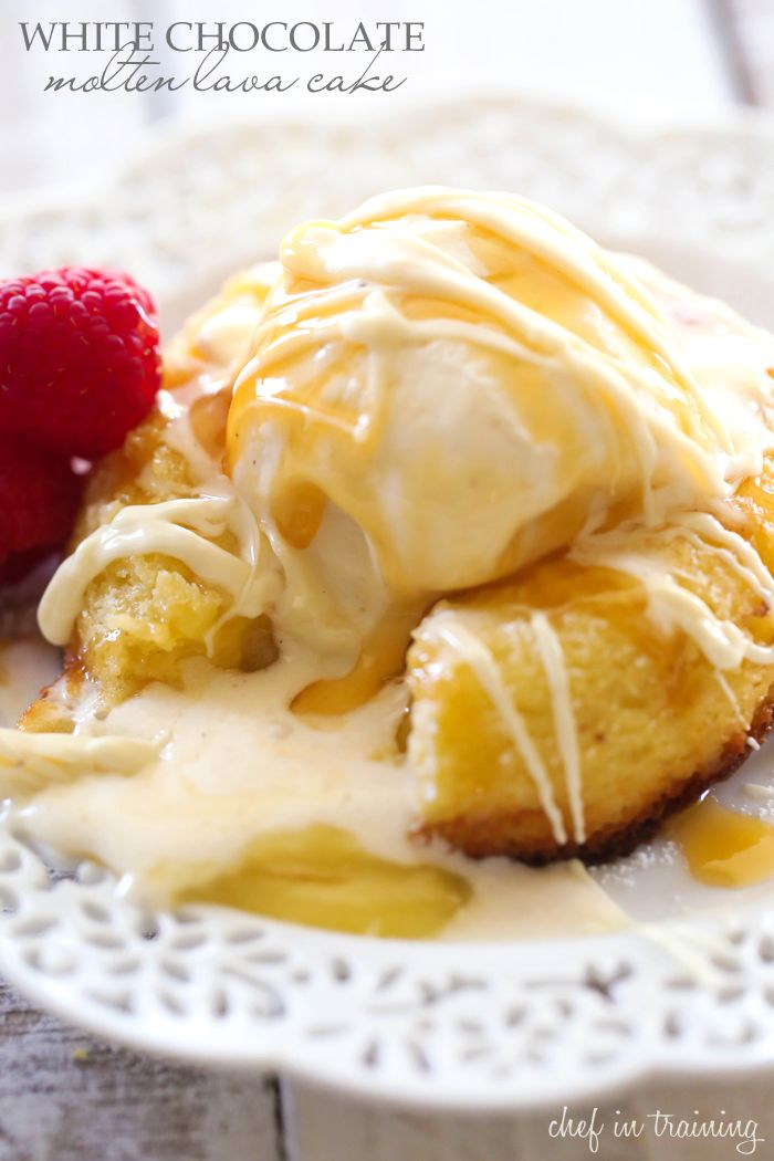 White Chocolate Molten Lava Cake... This cake is truly AMAZING! It is infused with melted goodness in each and every bite . It is beyond heavenly!