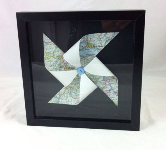 First #wedding anniversary is #paper theme, this would be perfect with home, wedding or honeymoon map destination.  Bespoke personalised map art pinwheel by mummypuddleduck on Etsy, £32.00 #‎Mapart #‎Pinwheel #‎Travel #‎Gifts #‎Forthehome