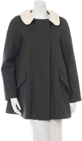 Isabel Marant Wool Leather Collar Coat