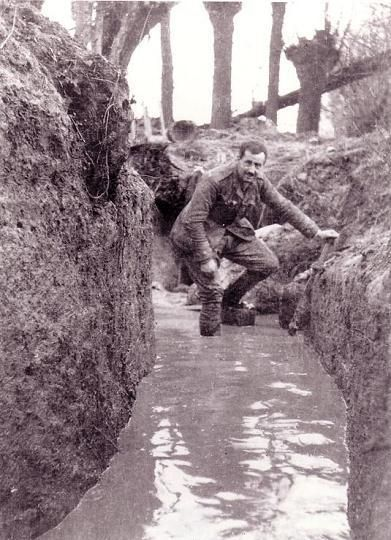 A trench flooded with water which lead to soldiers receiving trench foot. The water would stay in these trenches for days.