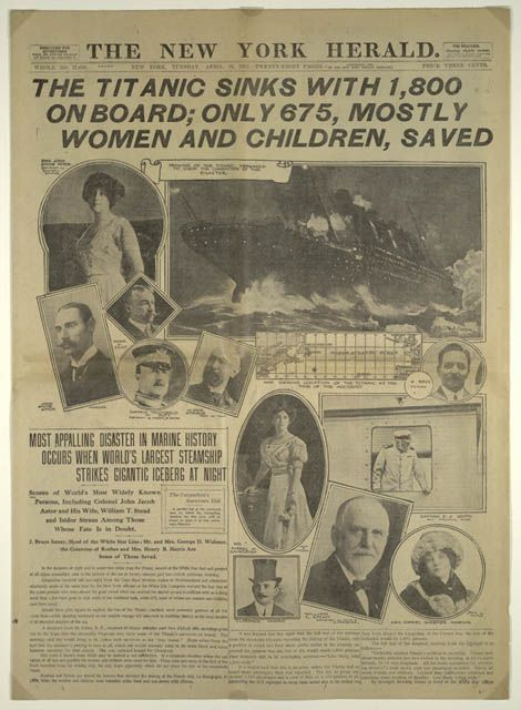Titanic was a British passenger liner that sank in the North Atlantic Ocean on 15 April 1912 after colliding with an iceberg during her maiden voyage from Southampton, UK to New York City, US.