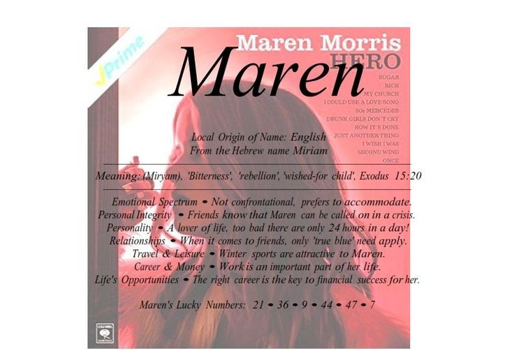 Maren name means bitterness as Maria Local Origin of Name: English From the Hebrew name Miriam Meaning: (Miryam), 'Bitterness', 'rebellion', 'wished-for child',
