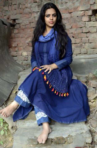 Indigo anarkali kurta with ombré dupatta with mukesh work
