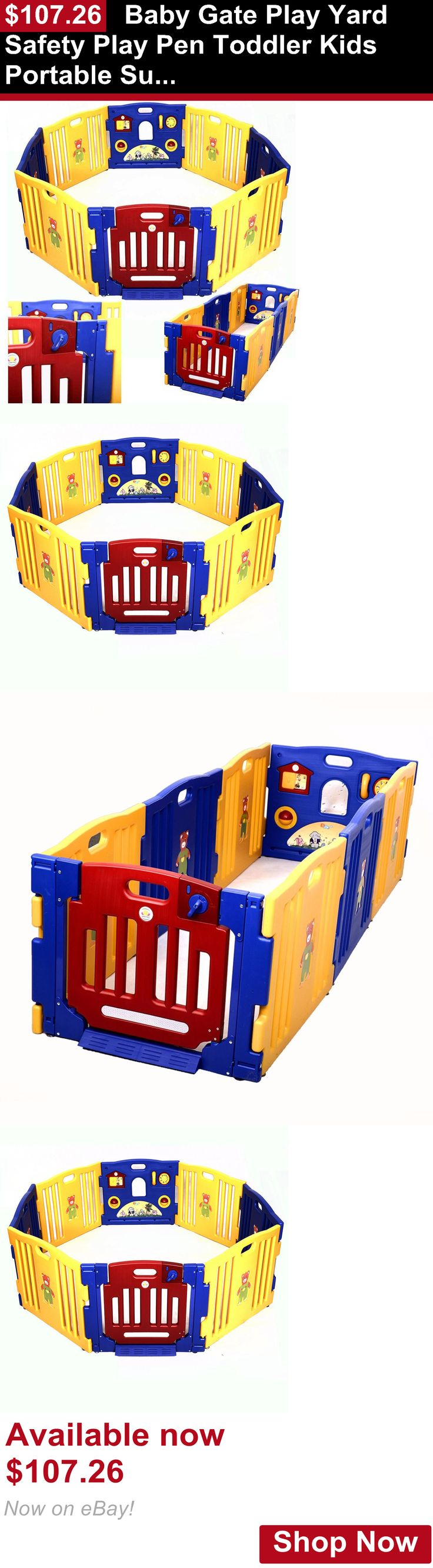 Baby Safety Gates: Baby Gate Play Yard Safety Play Pen Toddler Kids Portable Super Pet Indoor Dog BUY IT NOW ONLY: $107.26