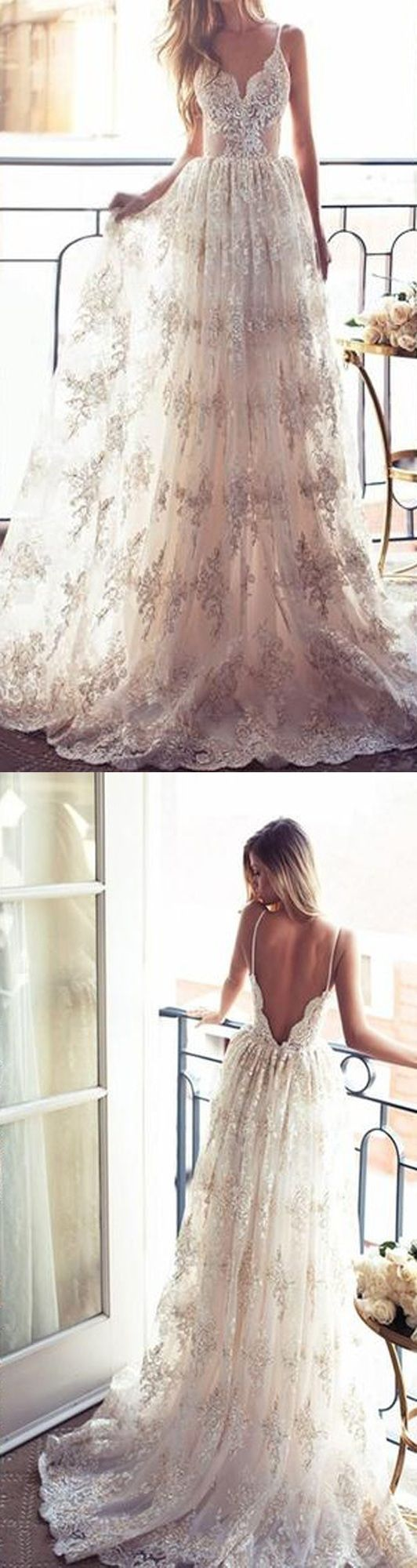 2017 A-line Long Spaghetti V-Neck Sexy Lace Wedding Dress,Chic Appliques Bridal Gown,Party Dress,Wedding Evening Dress