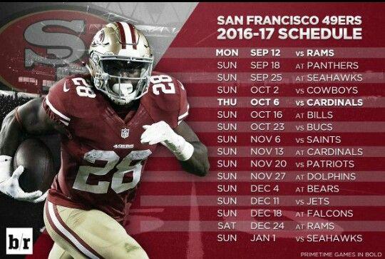 49ers schedule 2016-2017