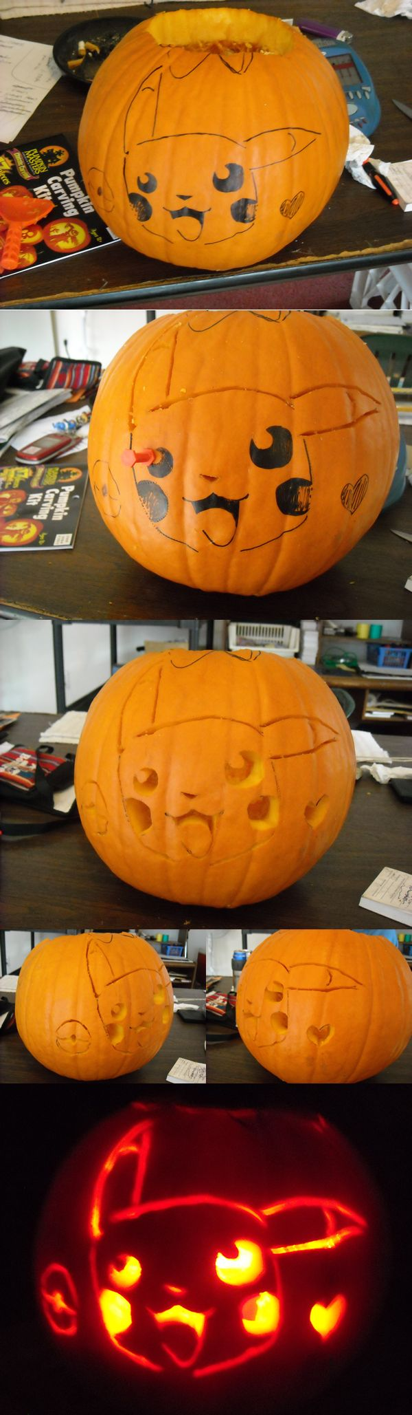 [BTW, didn't know whut to put this under...so I put Sculpt..o3o;; ] [Also, kinda a big file, sorrryyy. ; w;' ] Sooo I carved a Pikachu face on my pumpkin. It was very last minute and I co...