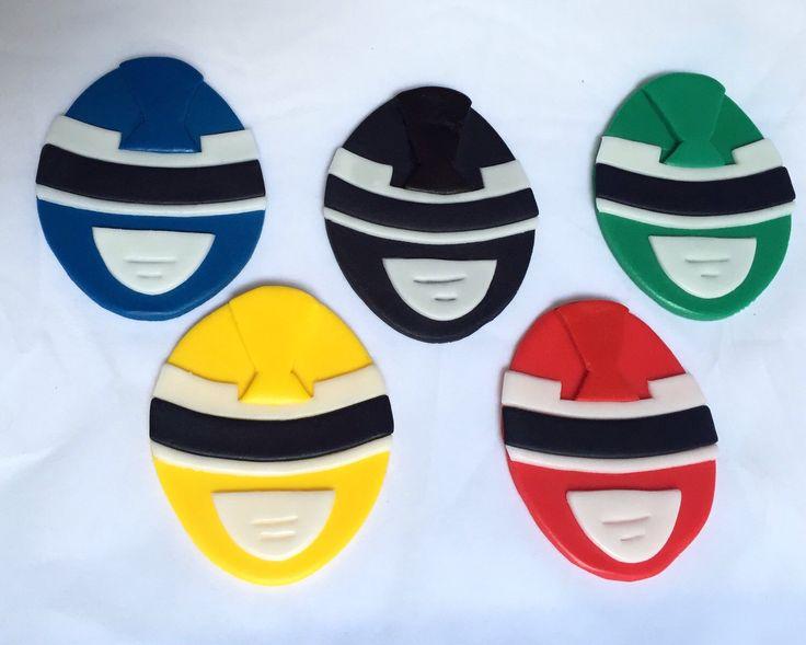 6 Power Ranger Inspired Cake Toppers, Power Ranger cupcakes, cake topper, fondant topper, fondant power rangers by KedulceSugarDesigns on Etsy https://www.etsy.com/listing/240404574/6-power-ranger-inspired-cake-toppers