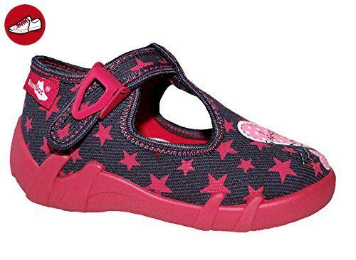 Renbut Mädchen Baby Hausschuhe Ballerinas Sandalen Lauflernschuhe Innensohle Leder Sterne Grau Pink Größe 27 - Kinder sneaker und lauflernschuhe (*Partner-Link)