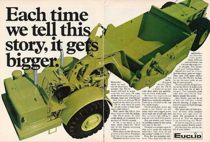 1967 Euclid Ts 32 Twin Engine Scraper Ad Dbl Pg Color