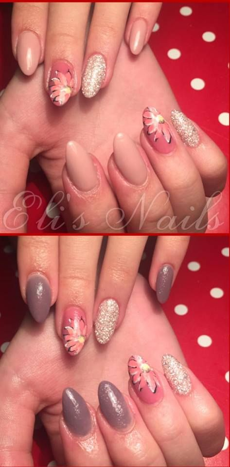 Chameleon changing color, Chameleon nails, Flower, Nude nails