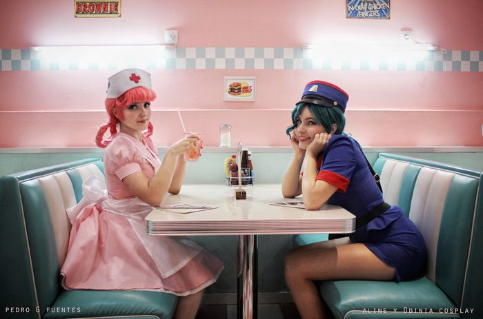 Nurse Joy & Officer Jenny from Pokemon Cosplay http://geekxgirls.com/article.php?ID=7972
