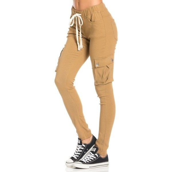 Drawstring Skinny Cargo Pants in Khaki ($30) ❤ liked on Polyvore featuring pants, bottoms, jeans, items, cotton stretch pants, skinny pants, stretch khaki pants, cotton pants and elastic waist cargo pants