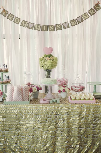 Gold, Mint, and Pale Pink Bridal Shower