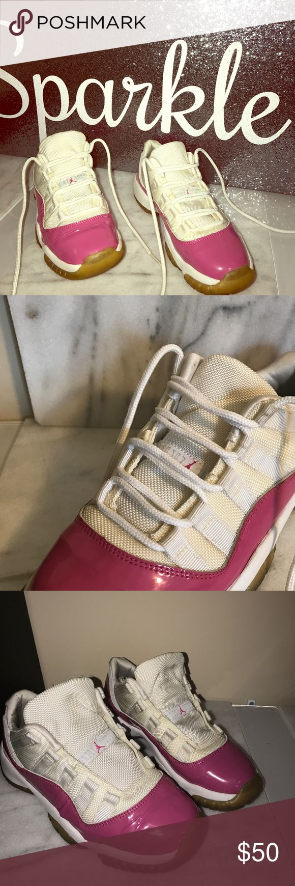 Jordan 11 Hot Pink Authentic For the shoe RESTORERS. Shoe released in 2001. Skin is lifting but in tact. Light scuffs from gentle wear and tear. You can't expect to just put these on your kid and let them play in them. The glue is too old for that. Original laces fully intact. Great for a retro photo shoot or staging prop. Air Jordan Shoes Sneakers