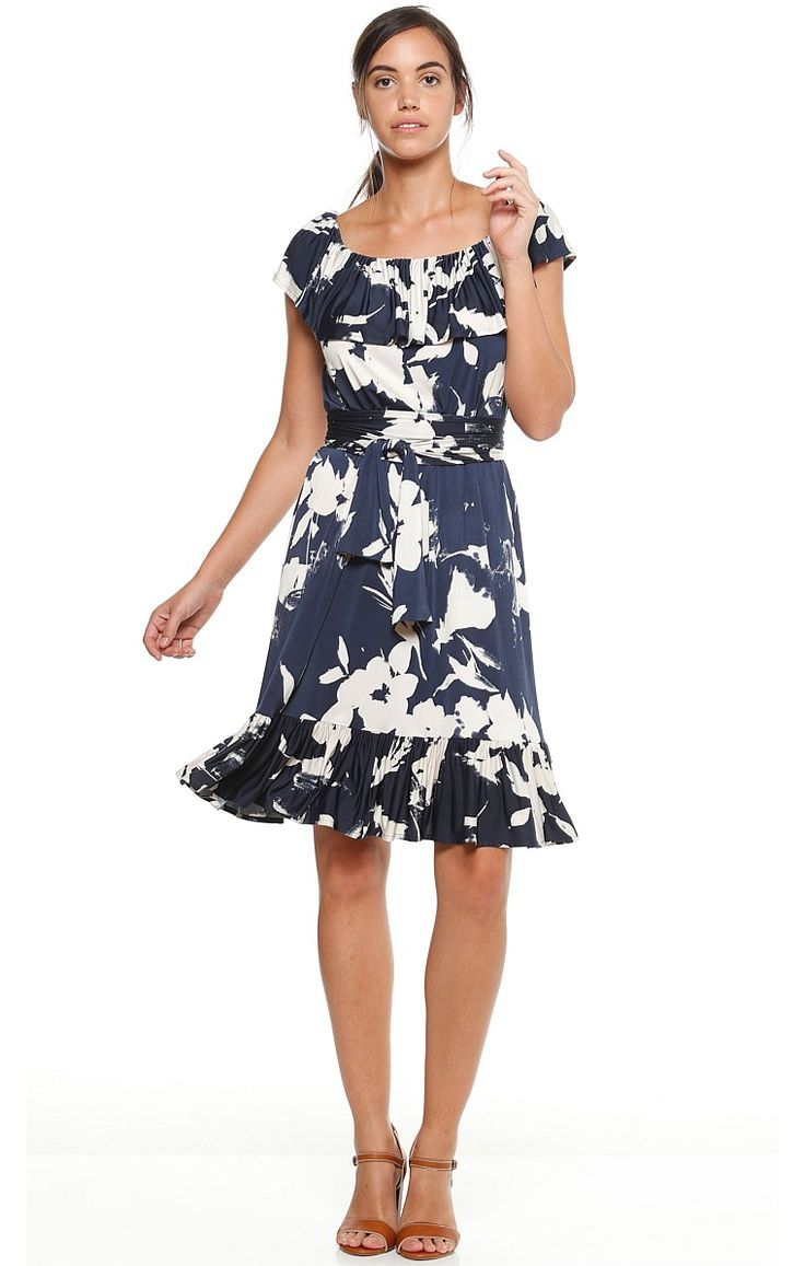 WHITE CALICO OFF THE SHOULDER FRILL STRETCH JERSEY KNEE LENGTH DRESS IN FLORAL PRINT