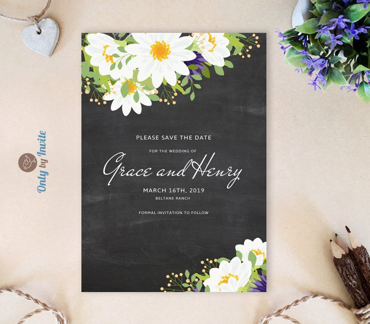 Chalkboard Save the Date cards printed | Elegant wedding save the date invitations with white daisy flowers on blackboard by OnlybyInvite on Etsy