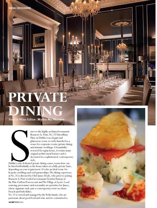 25 Fitzwilliam Place featured in Social and Personal Magazine, March 2013