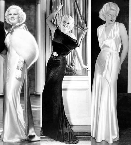Jean Harlow was the epitomy of 1930's glamour in her signature silky bias-cut evening gowns.