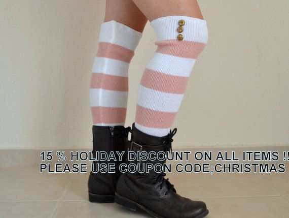 "BS5430-PLUS SIZE Fit for 16-25"" calves White and pale pink stripe over the knee leg warmers high knee women's socks boot cuffs boot socks"