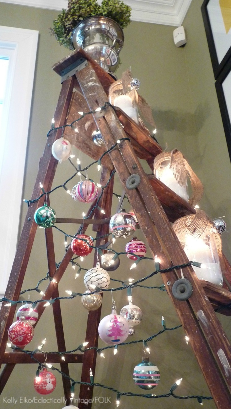 Ladder Tree. I actually REALLY like this. #maydoit #eclectic #Christmastree