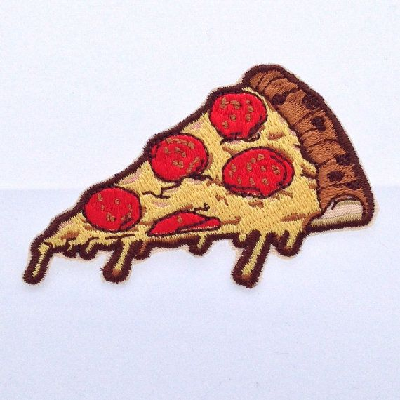 Because pizza. Brand new, 3 long, high-quality iron on pizza patch by MetaDope. 100% embroidered and made from the finest materials. Hail pizza.