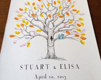 Fingerprint Tree Wedding Guest Book Alternative, Original Hand-drawn Extra Small Twisted Oak Design (ink pads sold separately)