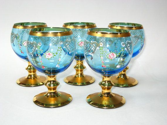 Set 5 Blue Glass Venetian Wine Goblets w/ by QualityCollection